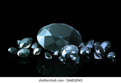 Few diamonds 3d rendered closeup on black reflected surface