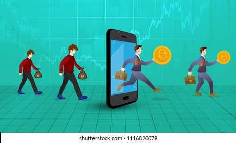 few men are coming out of mobile screen taking bitcoins out of it while others are going to convert their dollars having cryptocurrency price chart behind, virtualcurrency concept cartoon art.