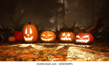 A few various funny Jack-o-lantern carved halloween pumpkins in haunted autumn forest at foggy dusk or night. Fall season festive 3D illustration from my own 3D rendering file.