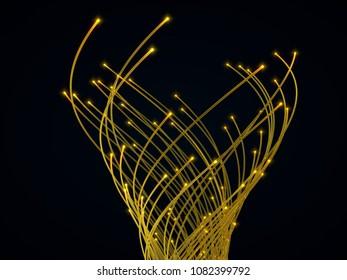 fiber optic cables. 3d illustration