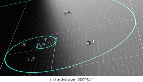 Fibonacci spiral over 3d black background with grid. Science or mathematics concept illustration.