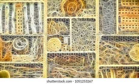 Fibrous abstract of woodland teaching aid, with digital glow effect, for themes of assemblage and display, complexity, organization