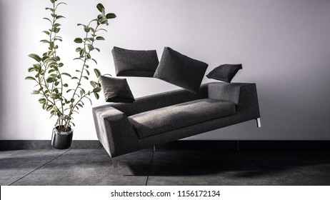 Fictional 3D image of rectangular black sofa with matching cushions and potted broad leaf plant floating in the air