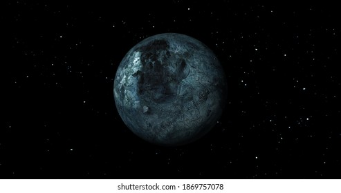 fictional Eris sun rise in dark background with stars. front view of eris planet from space. full 3d view of eris 4k resolution.