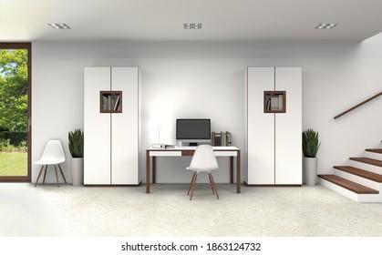 fiktive 3D-Darstellung eines Innenraums mit modernen Möbeln im Untergeschoss