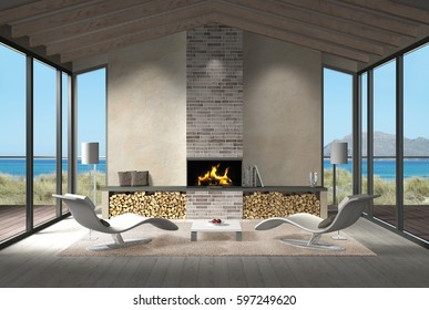 fictitious 3D rendering showing a modern seaside living room with fire place in the dunes