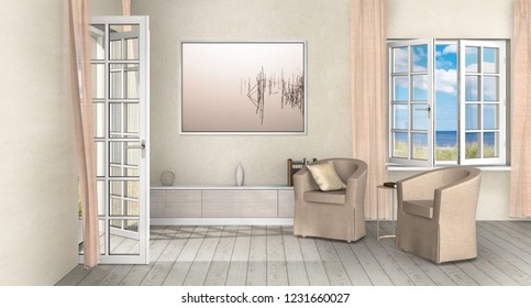 fictitious nostalgic country style seaside holiday home living room interior with opened windows and french doors and view to the sea - 3D rendering