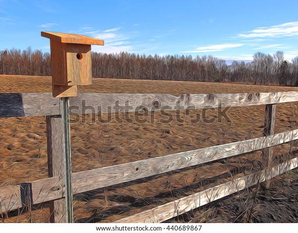 field and bluebird house