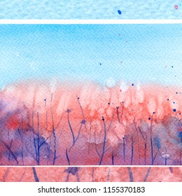 field with dandelions, stems. watercolor background. summer. drops of spray, splashes of water. blue sky.