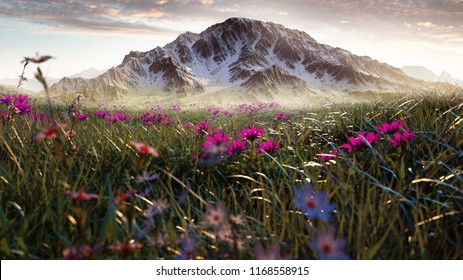 Field with flowers in front of mountains (3D Rendering)