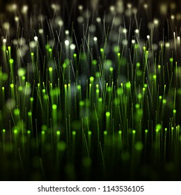 Field of green particles moving with light traces and bokeh. 3d illustration