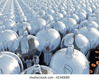 A field of original vintage Thomas Edison light bulbs, illustration of hundreds of light bulbs lined up. Close to far glass base and filament conceptual metaphor