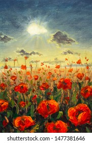 Field of red poppies flowers Impressionism modern oil painting - red flowers poppies Sun rays and clouds illustration. Flower modern landscape artwork for poster, fabric, invitation background