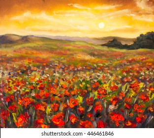 Field of red poppies at sunset stunning flowers landscape oil painting