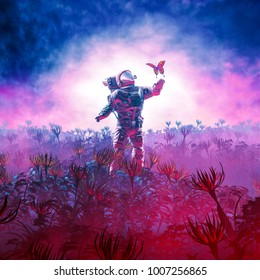 The field trip / 3D illustration of astronaut encountering butterfly in alien landscape