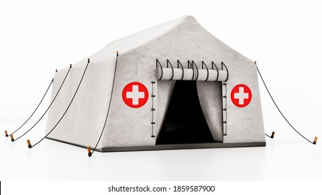 Field type mobile hospital tent isolated on white background. 3D illustration.