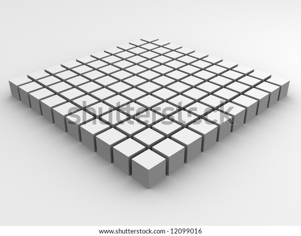 field of white cubes