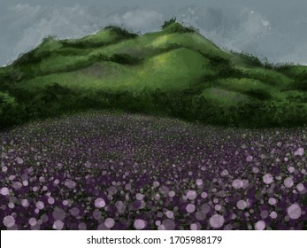 A fields of flowers in the foreground, represented as drops of paints in a surrealistic/pointillist effect, with green mountains on the background and a grey sky.