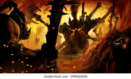 A fierce dwarf mercilessly cuts down his orc enemies, against the backdrop of a burning city, his eyes glow with magical flames, a round rune shines on his forehead. 2d illustration