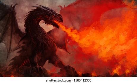 Fierce fantasy black winged dragon illustration