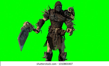fierce orc fighter 3d render