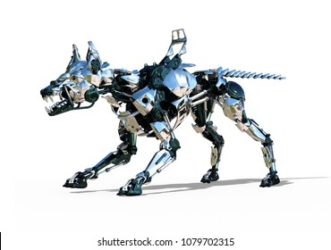 A fierce robot guard dog is ready to defend you against cybercrime - 3D render.