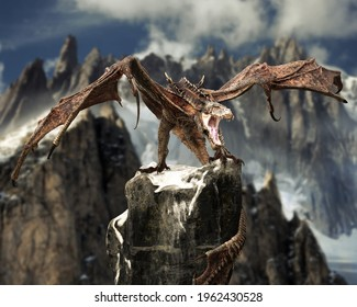 Fierce winged dragon perched on a rock outcropping high in the mountains of his domain. 3d rendering