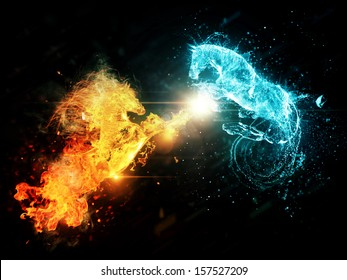 Fiery and blue water horses on abstract dark background.