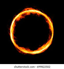 Fiery circle with free space in center isolated on black background