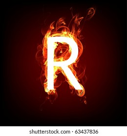 Fiery font for hot flame design. Letter R