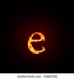Fiery font. Letter e, small