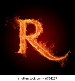 Fiery font. Letter R