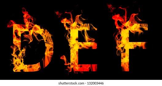 Fiery font. Letters  D E F