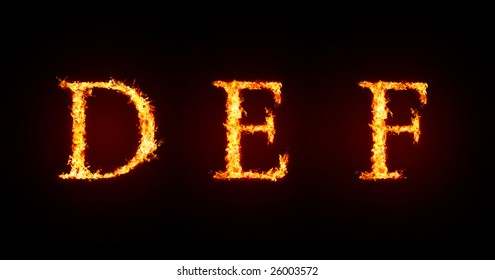 Fiery font. Letters D, E and F, capital