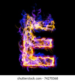 Fiery font with rose and blue. Letter E