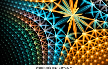 Fiery glowing star grid fractal pattern, computer generated abstract background. Fractal art pattern for wallpaper, interior, album, flyer cover, poster, booklet