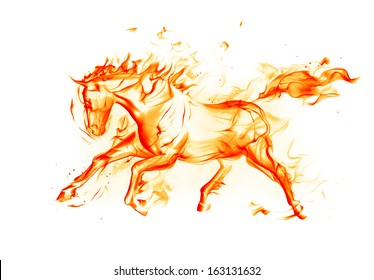 Fiery horse on white background