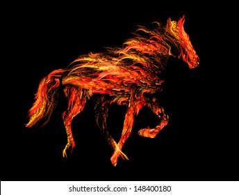 fiery horse, symbol of the 2014 year - raster illustration. yellow and red fire horse silhouette isolated on black background.