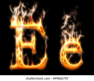 fiery letter E, sparks, glitter, uppercase and lowercase on a black background