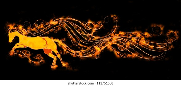 Fiery magical horse on a black background