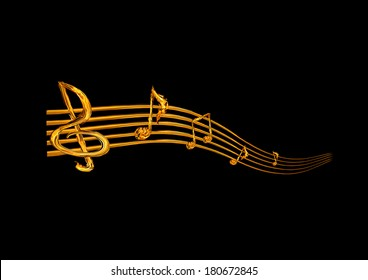 Fiery music notes on a black background