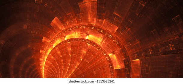 Fiery new futuristic technology banner, computer generated abstract background, 3D rendering