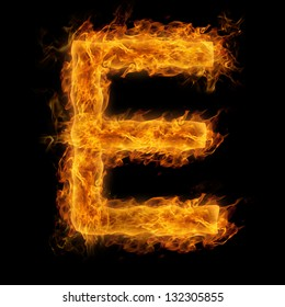 Fiery uppercase letter E