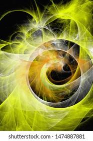 fiery whirlpool vortex design on black
