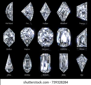 Fifteen exotic and rare diamond shapes, close-up top view with cut style names, isolated on black background. 3D rendering illustration