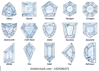 Fifteen fancy rare diamond shapes with titles isolated on white background. 3D illustration