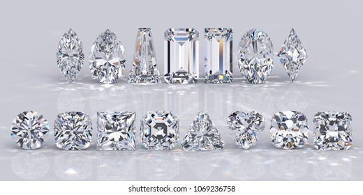 Fifteen popular diamond shapes on white background. Round, princess, heart, emerald, asscher, cushion, old mine, triangle, radiant, baguette, marquise, pear, oval, lozenge. 3D rendering illustration