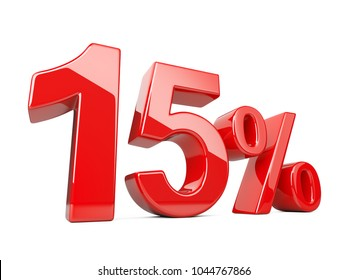 Fifteen red percent symbol. 15% percentage rate. Special offer discount. 3d illustration isolated over white background.