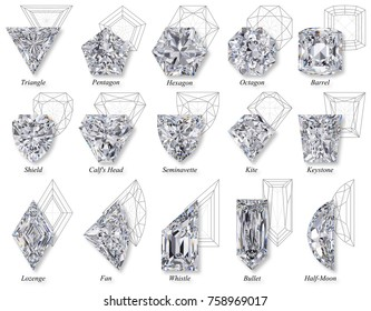 Fifteen varieties of rare and exotic fancy shape diamond cut styles with names, schematic facet diagrams, top view isolated on white background. 3D rendering illustration.