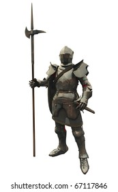 Fifteenth Century late Medieval Knight in Northern Italian Milanese Armour, 3d digitally rendered illustration